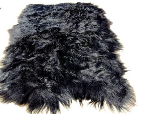 vloerkleed schapenvacht langhaar zwart  tapijt