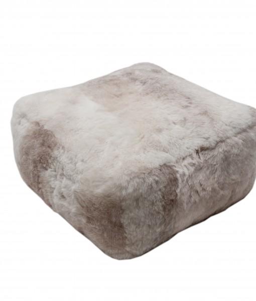 melange shorn schapenvacht pouf
