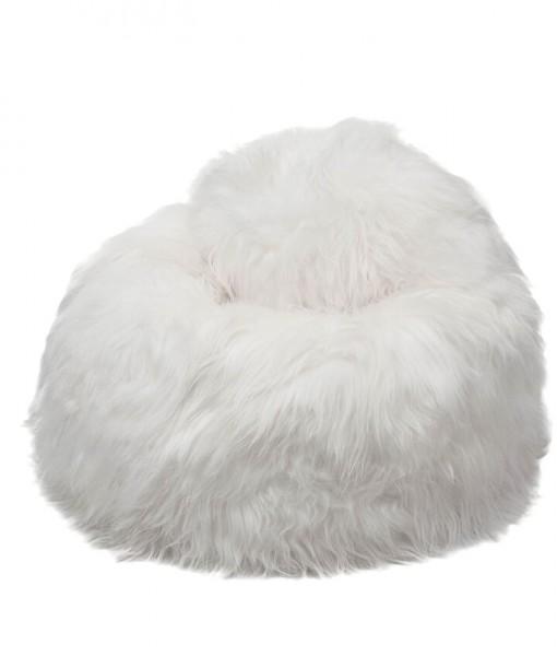 white longhwool beanbag
