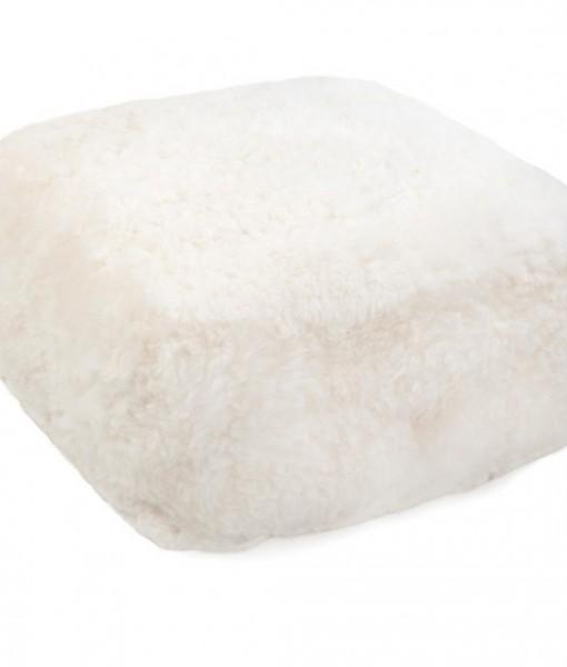 white shorn pouff