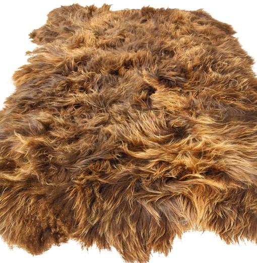 schapenvacht vloerkleed tapijt langharig bruin eco