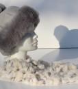 muts-lamsvacht-grijs maat S-sjaal konijnenvacht