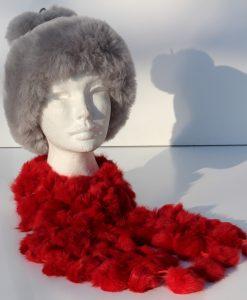 sjaal-konijnvacht-plukjes-rood