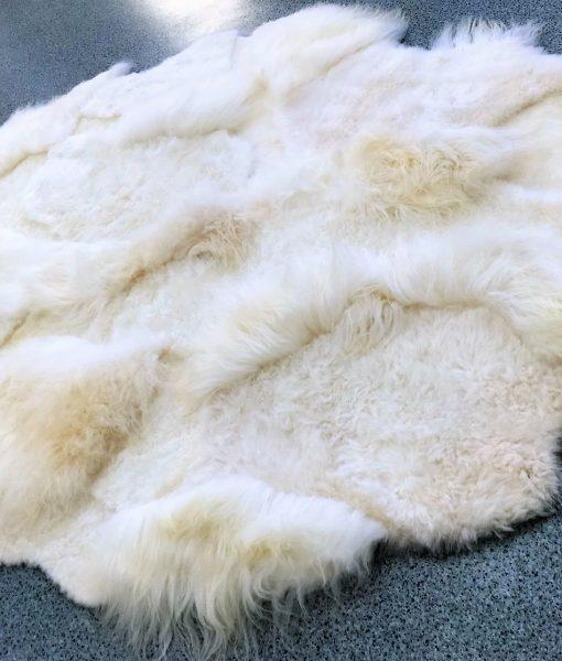 multi-layer WHITE rug shaggy design, Vloerkleed -schapenvacht-kort-langhaar-mix-
