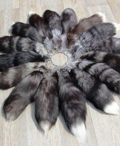 vossenstaart- sleutelhanger xxl maat-grijs-zwart