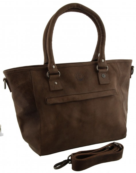 leather Bag Edmonton taupe 43x26x12cm