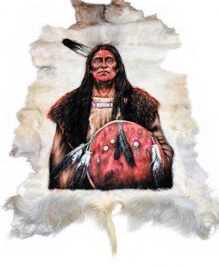 Grote geitenhuid geitenvel oftewel geitenvacht. Hand beschilderd, iedere schildering is uniek. Sioux Native Indian.