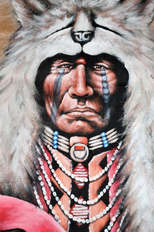 Beautiful hand painting on a real goat hide. Native indian.