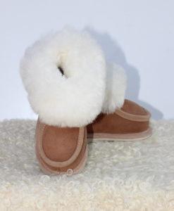 kinder-pantoffel-sloffen-schapenvacht-bruin-maat-26