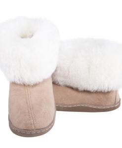 Pantoffels-donja-hd-rubberzool-schapenvacht-bruin-wit.
