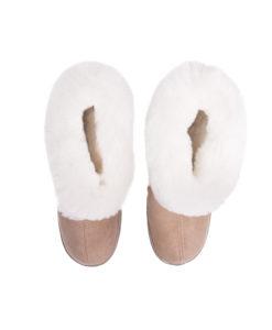 Pantoffels-donja-hd-rubberzool-schapenvacht-bruin-wit.-nederlands-merk-