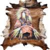 geitenhuid-hand beschilderd indiaan en bizon