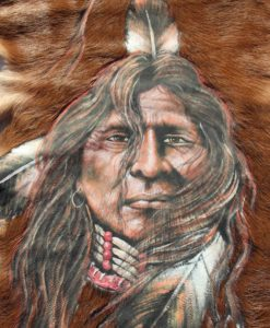 geitenhuid-schildering-indiaan- tot in detail-geschilderd-