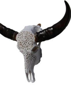 waterbuffel-gegraveerd-wit met zwarte hoorns